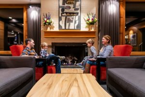 Family Sitting in Alta Lodge Lobby