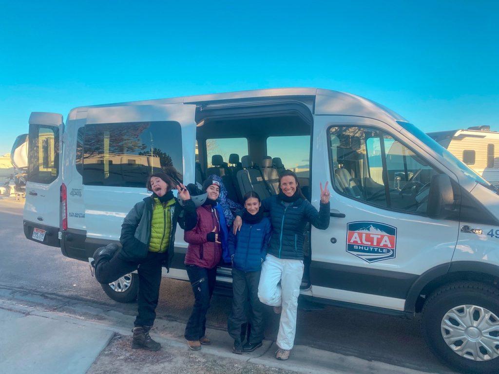 Family Arriving in Alta Shuttle