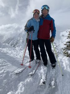 Grace and Jeff Skiing Alta